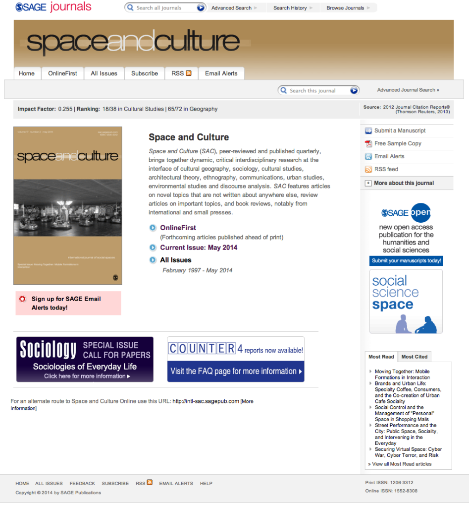 Space and Culture SAGE